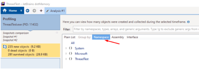 """In analysis windows, select the filter """"Namespace"""""""