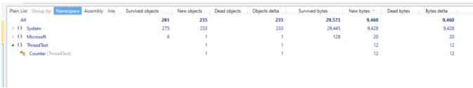 see in the following window these elements - The numbers of new objects - Surviving objects Memory - Size of objects