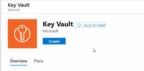 Create key vault in Azure portal 1