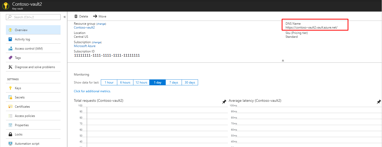 example of DNS Name on Azure key vault overview page