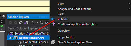 Application tier API publish