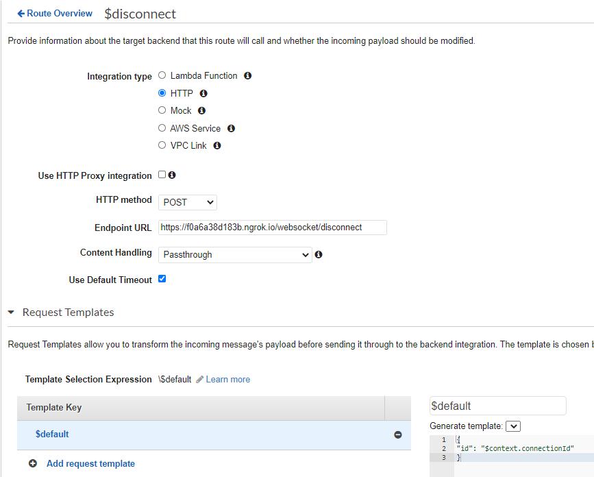 Configuration of $disconnect API