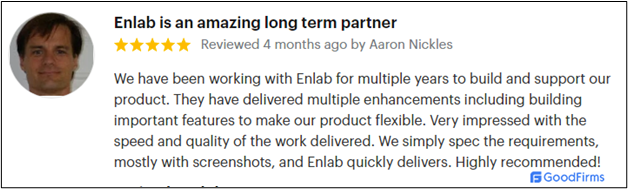 Enlab Software - Testimonials from clients on GoodFirms