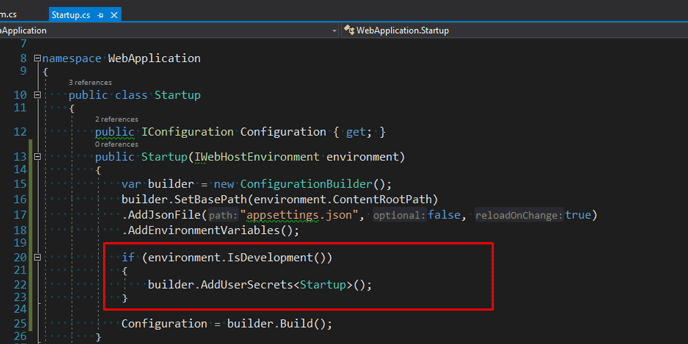 add additional codes for ConfigurationBuilder to access user secrets in .net core project