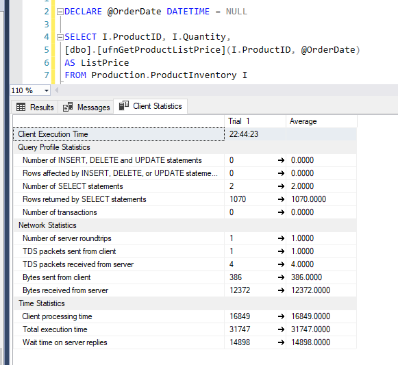 4. Client Statistics - The original query result in tunning performance SQL server
