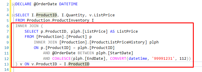 13. Efficient - Using a view to Join instead in SQL queries