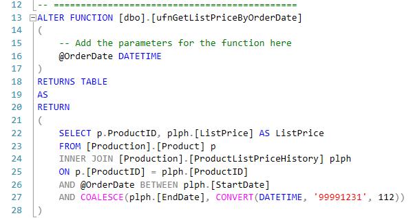 14. Table valued function - GetListPriceByOrderDate