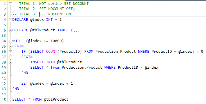 18. Set NOCOUNT ON or OFF - Demo query