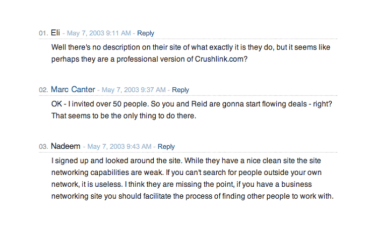 User feedback about first version of LinkedIn's MVP